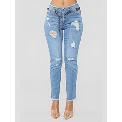 Tassel Plain Straight High Waist Women's Jeans