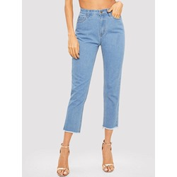 Tassel Plain Straight Slim Women's Jeans