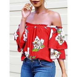 Off Shoulder Color Block Print Standard Women's Blouse