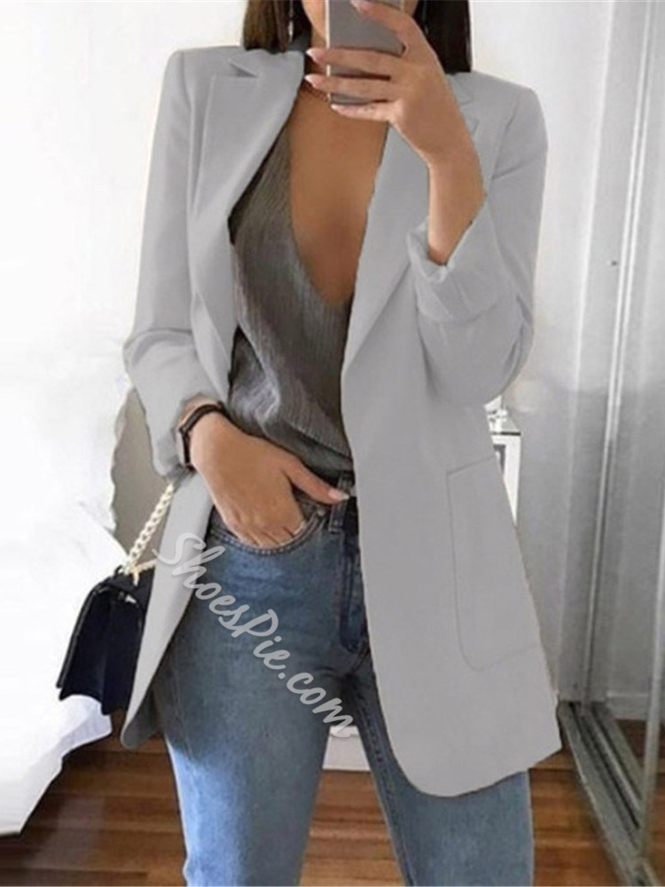 Long Sleeve Notched Lapel Plain Regular Women's Casual Blazer