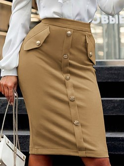 Knee-Length Bodycon Plain Fashion Women's Skirt