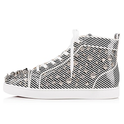 Shoespie Lace-Up Stripe High Top Men's Skate Shoes