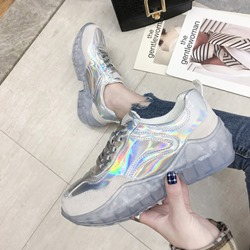 Shoespie Stylish Lace-Up Glitter Casual Sneakers