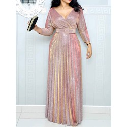 Floor-Length V-Neck Long Sleeve High Waist Women's Maxi Dress