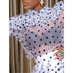 Polka Dots See-Through Long Sleeve Women's Blouse