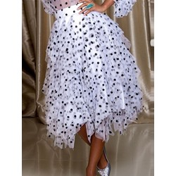 Mid-Calf Polka Dots Asymmetrical Fashion Women's Skirt