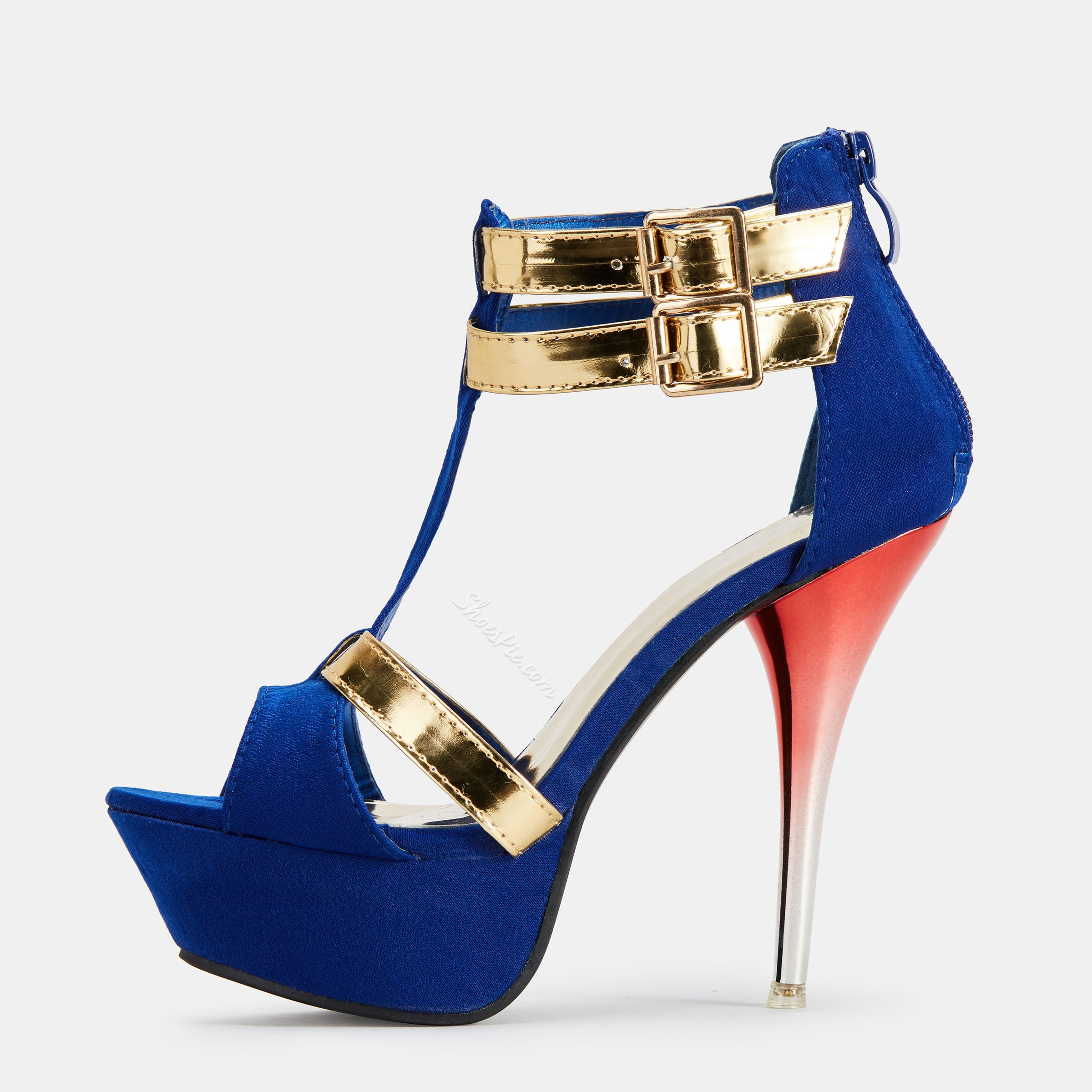 Shoespie Contrast Color Platform Strap Stiletto Heel Sandals