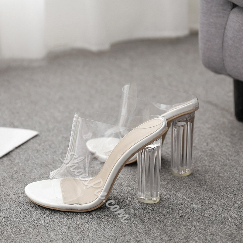 Shoespie Clear Chunky Heel Open Toe Slippers