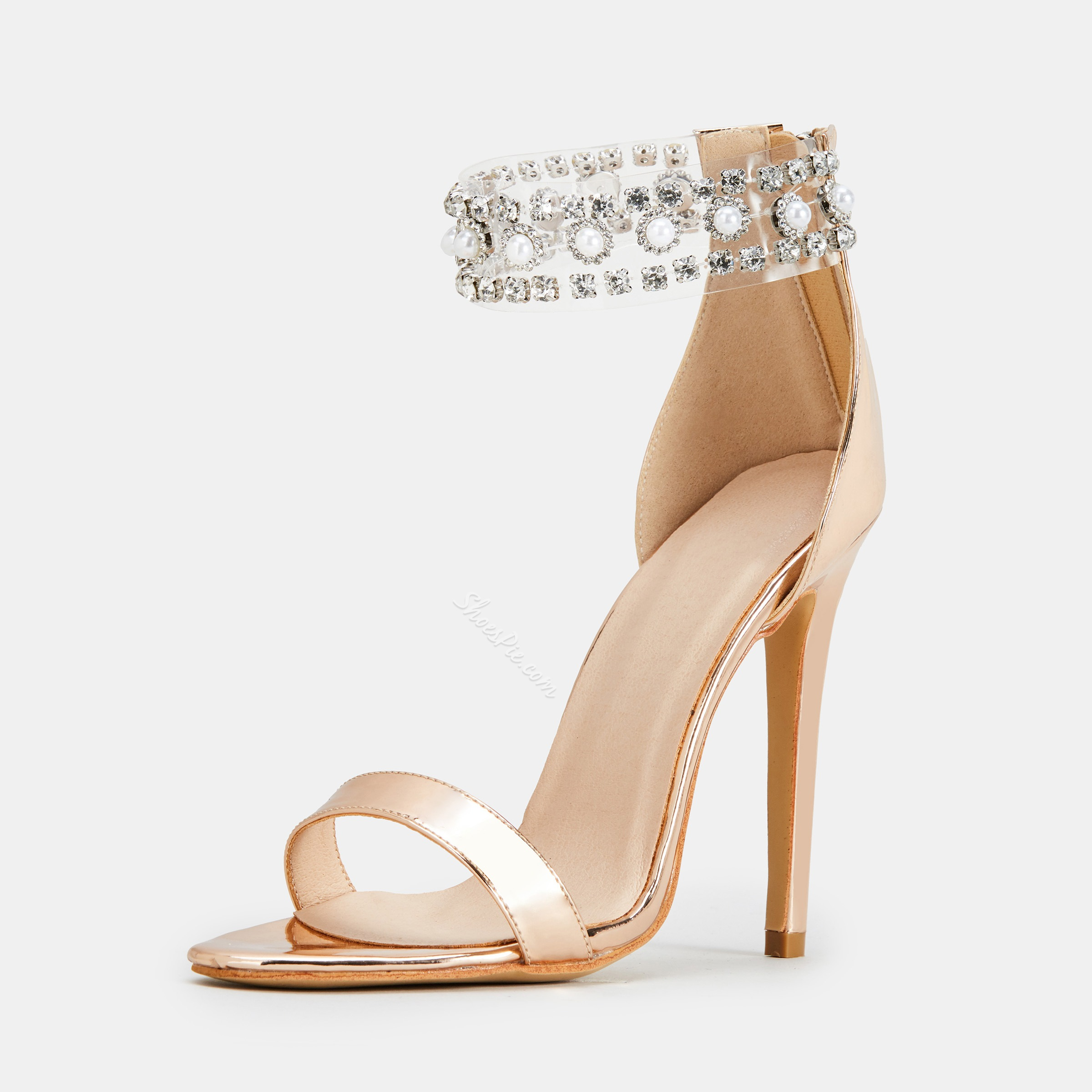 Brilliant Rhinestone Open Toe Zipper Stiletto Heel Sandals