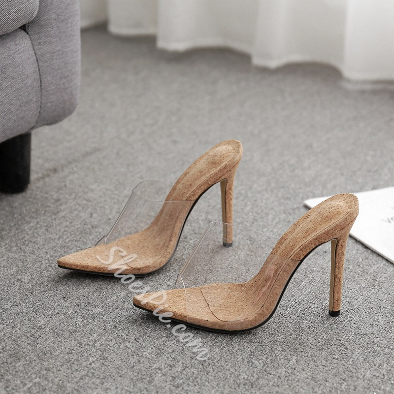 Shoespie Clear Backless Stiletto Heel Mules