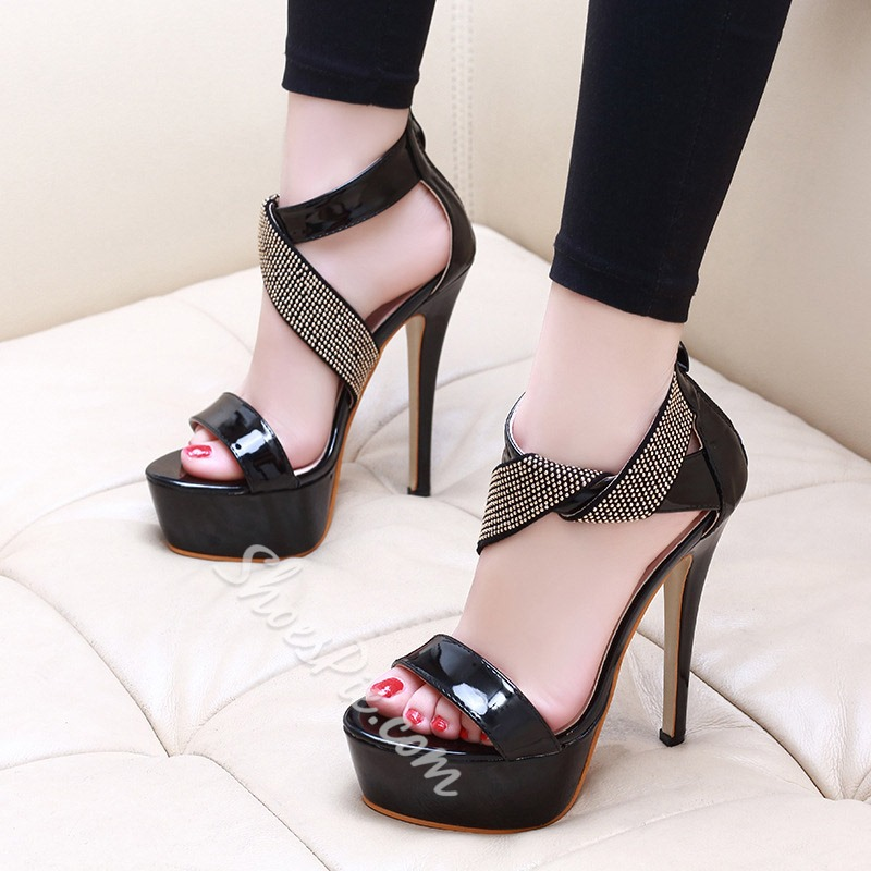 Shoespie Glitter Zipper Platform Stiletto Heel Sandals