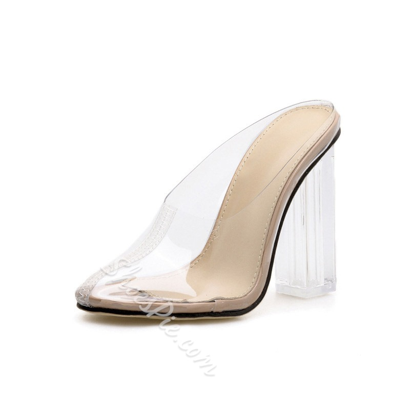 Shoespie Closed Toe Chunky Heel Jelly Clear Slippers