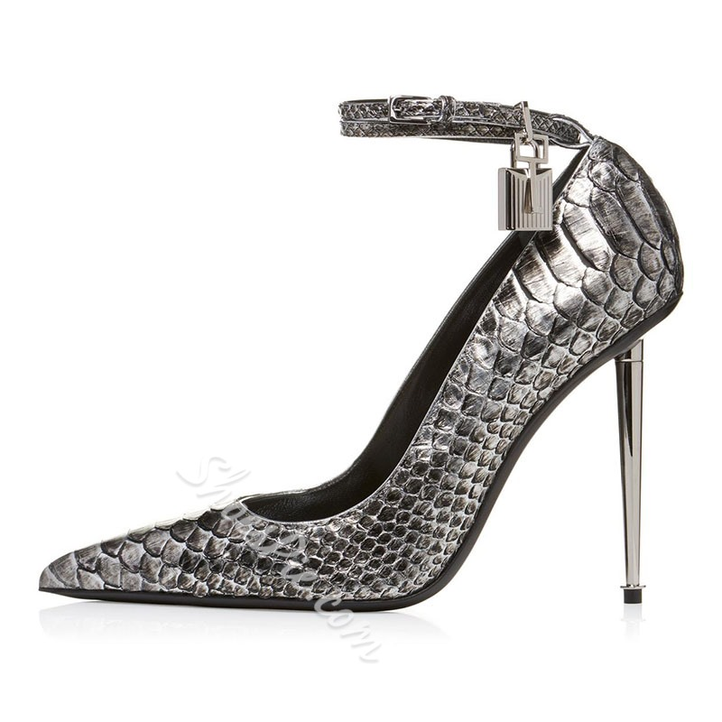 Shoespie Snake Print Serpentine Buckle High Heels