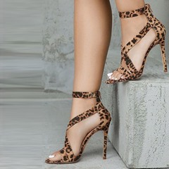 Shoespie Stiletto Heel Zipper Leopard Sandals