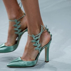 Shoespie Stiletto Heel Pointed Toe Lace-Up Green Sandals