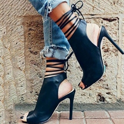 Shoespie Backless Strappy Black Stiletto Heels