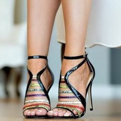 Shoespie Stiletto Heel Buckle Color Block Sandals