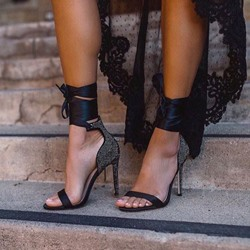 Shoespie Lace-Up High Heel Black Sandals