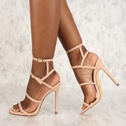 Shoespie Nude Solid Buckle Strap Stiletto Heel Sandals