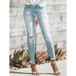 Pencil Pants Hole Plain Slim Women's Jeans