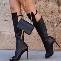 Shoespie Black Peep Toe Hasp High Heel Boots