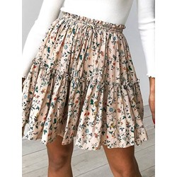 A-Line Falbala Floral Casual Women's Skirt