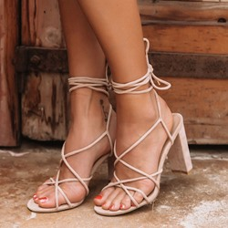 Shoespie Sexy Chunky Heel Lace-Up Sandals
