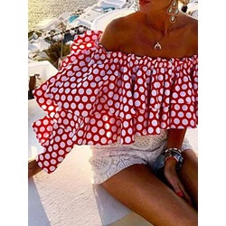 Print Polka Dots Off Shoulder Short Women's Blouse