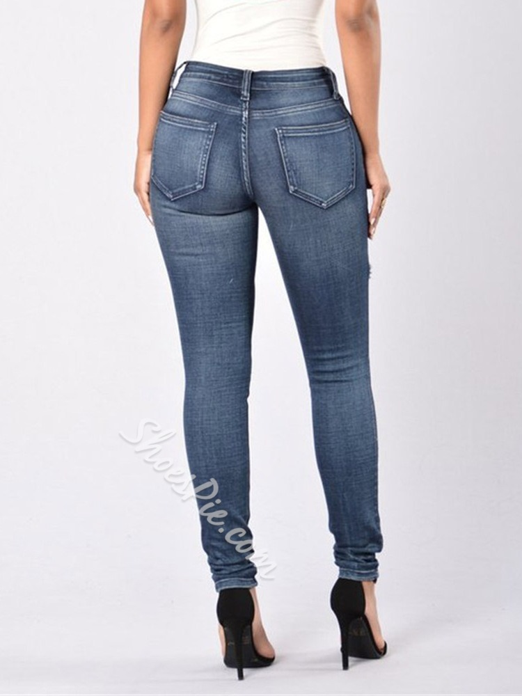 Washable Plain Pencil Pants Button Women's Jeans