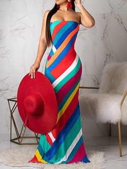 Floor-Length Backless Sleeveless Mid Waist Women's Maxi Dress