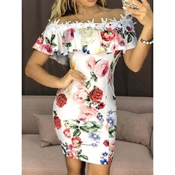 Above Knee Short Sleeve Off Shoulder Women's Bodycon Dress