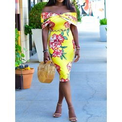 Knee-Length Off Shoulder Print Casual Women's Bodycon Dress