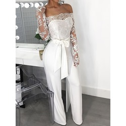 Plain Lace-Up Western Slim Women's Jumpsuit
