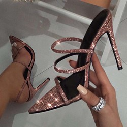 Shoespie Glitter Pink Open Toe Stiletto Heel Sandals