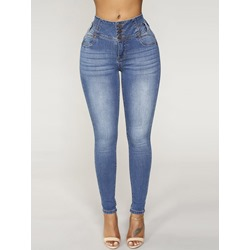 Plain Button Low Waist Women's Jeans
