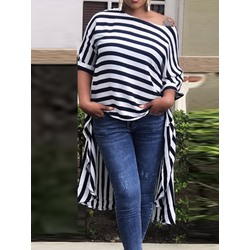 Asymmetric Stripe Long Women's Blouse