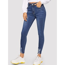 Plain Pocket Skinny Women's Jeans