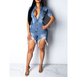 Plain Shorts Hole Loose Women's Jumpsuit