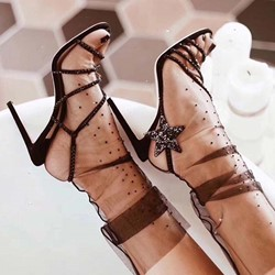 Shoespie Star Stiletto Heel Rhinestone Sandals