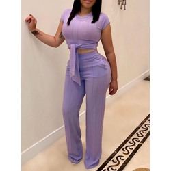Lace-Up Western T-Shirt Straight Women's Two Piece Sets