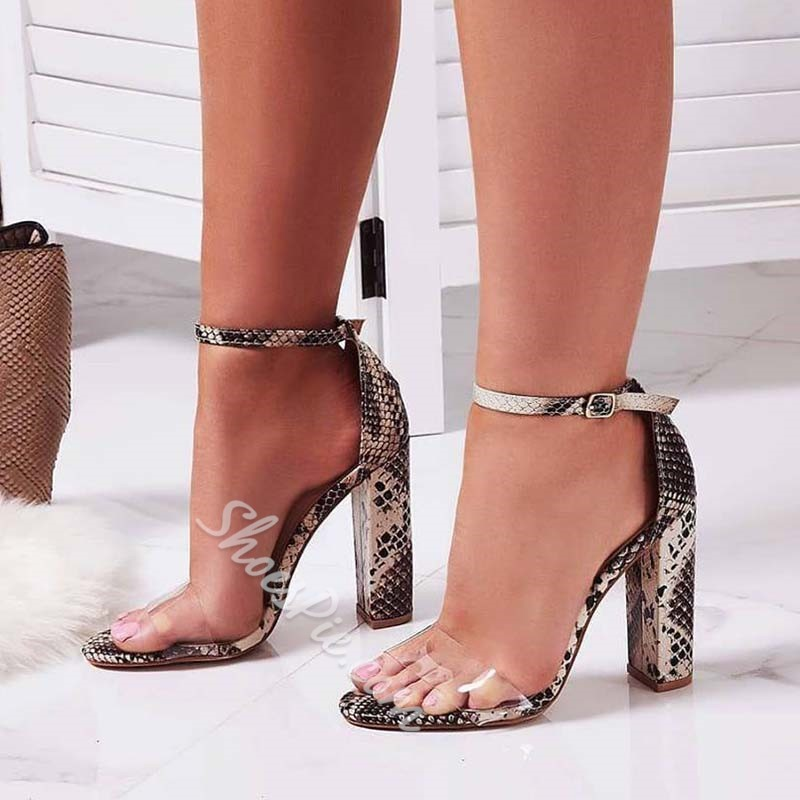 Shoespie Snake Pattern Buckle Chunky Heel Clear Sandals