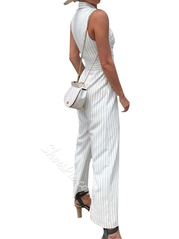 Full Length Office Lady Button Straight Women's Jumpsuit
