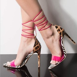 Shoespie Leopard Clear Stiletto Heel Strappy Sandals