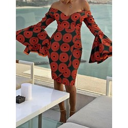 Knee-Length Print Long Sleeve Women's Bodycon Dress