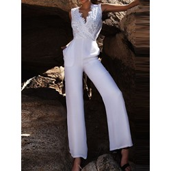 Full Length Plain Office Lady Slim Women's Jumpsuit