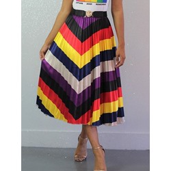 Pleated Color Block Mid-Calf Western Women's Skirt