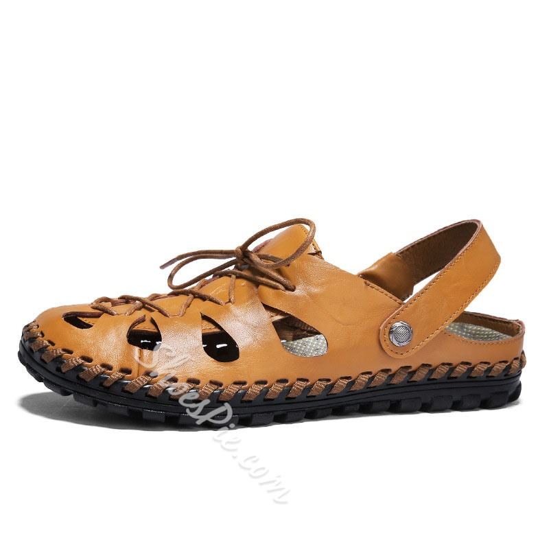 Shoespie Leather Soft Summer Hollow Men's Sandals