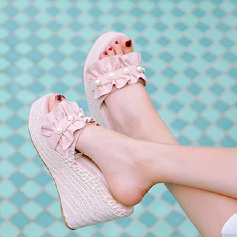 Shoespie Wedge Heel Backless Slippers