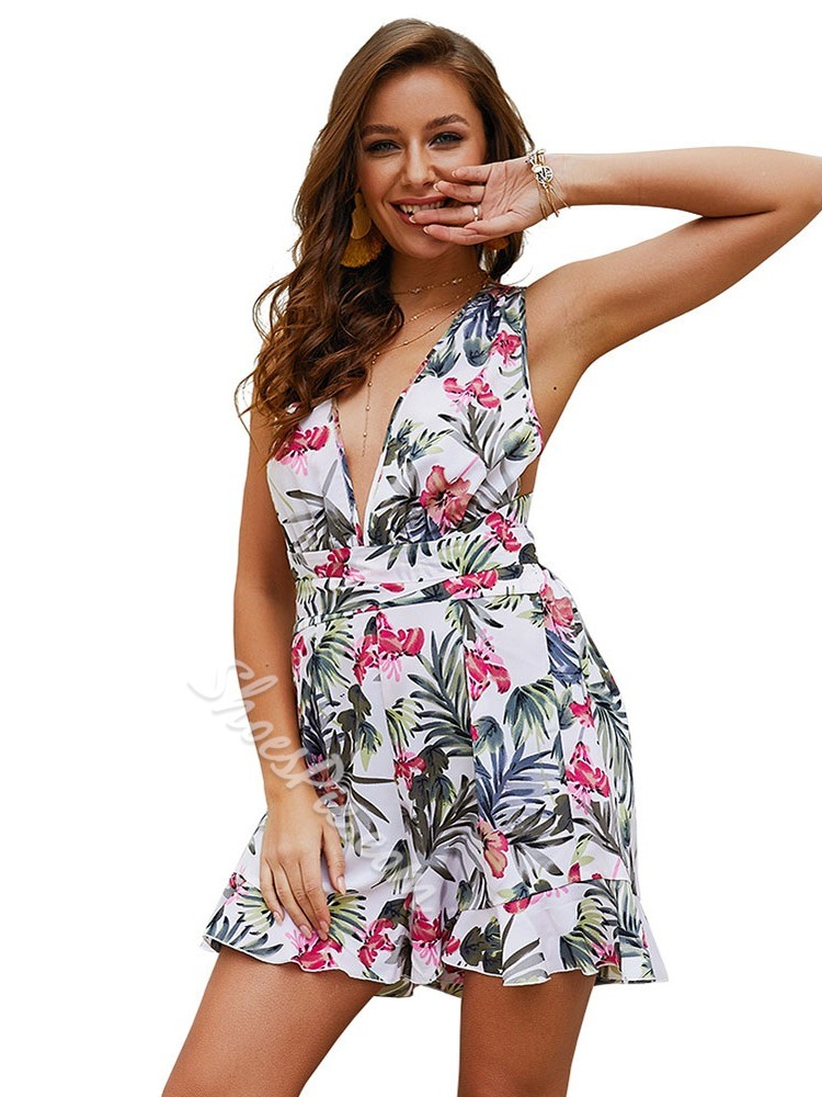 Shorts Floral Sexy Loose Women's Jumpsuit