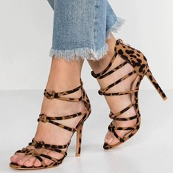 Shoespie Zipper Leopard High Heel Sandals